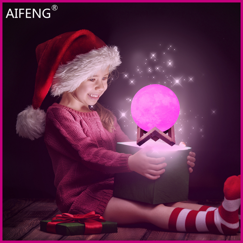 AIFENG led night light 3D Print Moon Lamp Moon lamp baby nightlight 16/2 Color Change Touch Switch Bedroom Night Home Decor