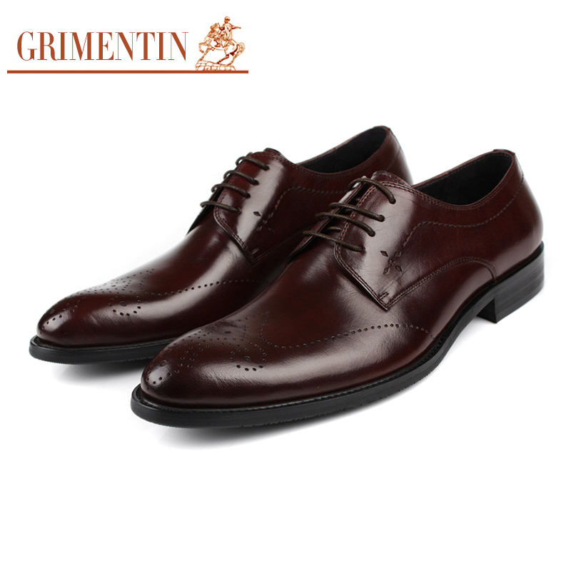 GRIMENTIN Fashion Luxury Designer Mens Dress Shoes Genuine Leather Carved Vintage Brand Italian Flat Shoes For Wedding 3Z48 grimentin fashion genuine leather mens dress shoes italy designer carved top quality cowhide men shoe flats for wedding business