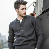 AK CLUB Brand Sweater For Men Casual Henley Collar Pullover Sweater Knitted Spliced Cotton Blend Wool