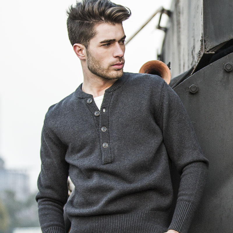 Ak Club Brand Sweater For Men Casual Henley Collar Pullover Sweater