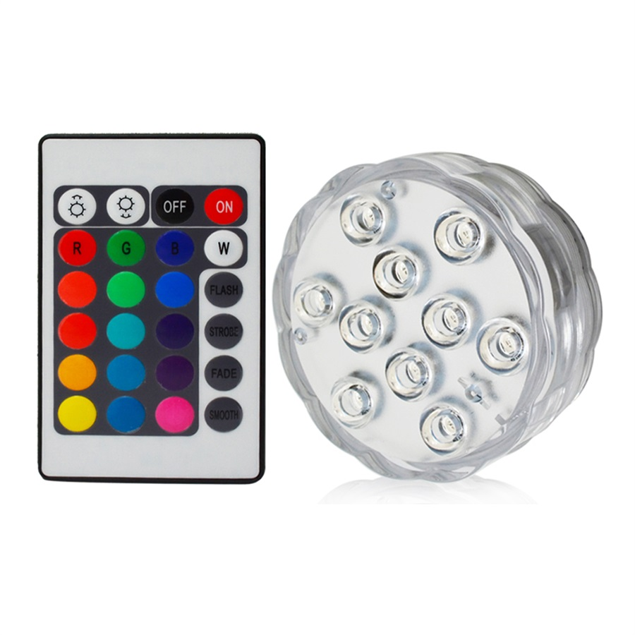 1PC 10 LED Multicolor RGB Submersible IP68 Waterproof Lights For Aquarium Fish Tank Garden Pond Lighting Bright Led Lamp Blub