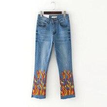 2017 nova moda Europeus e Americanos chama impresso cintura elástica calça jeans chifre mulheres