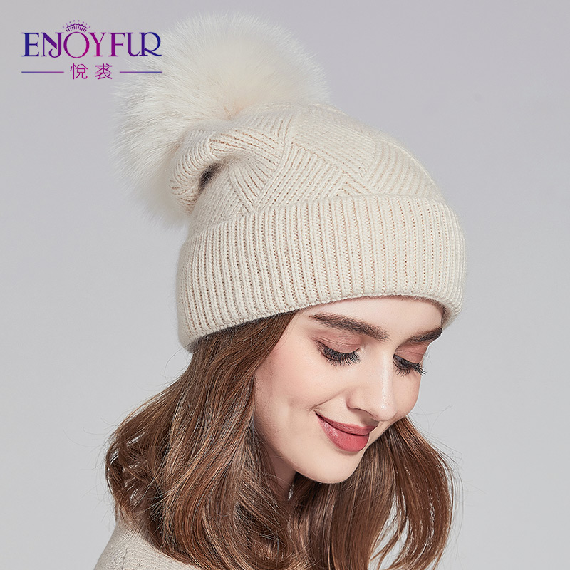 ef52e25d9e7 ENJOYFUR Real Fox Raccoon Fur Pompom Winter Hats Slouchy Beanies For Women  Thick Warm Wool Cap For Lady-in Skullies   Beanies from Apparel Accessories  on ...