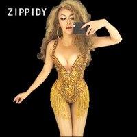 Sexy Gold Tassel Sparkly Full Rhinestones Bodysuit Bar Female Singer Stage Wear Nightclub Prom Bright Costume