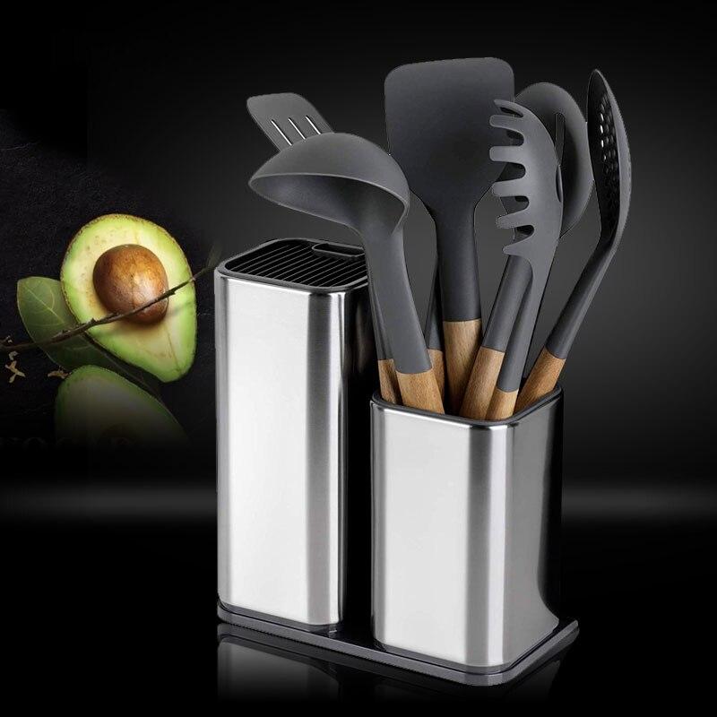 Bıçak standı tutucu mutfak bıçağı paslanmaz çelik bıçak tutucu standı blok High End mutfak aksesuarları