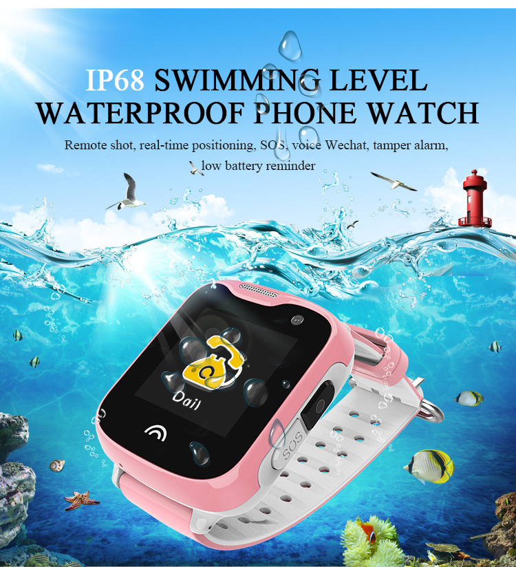 1.33inch Anti Lost IP68 Waterproof Child GPS Tracker SOS Smart Monitoring Positioning Phone Cartoon Kids Baby Electronic Watches ip68 waterproof mini car gps locator tracker free installation of built in antenna tracker anti lost child elderly positioning
