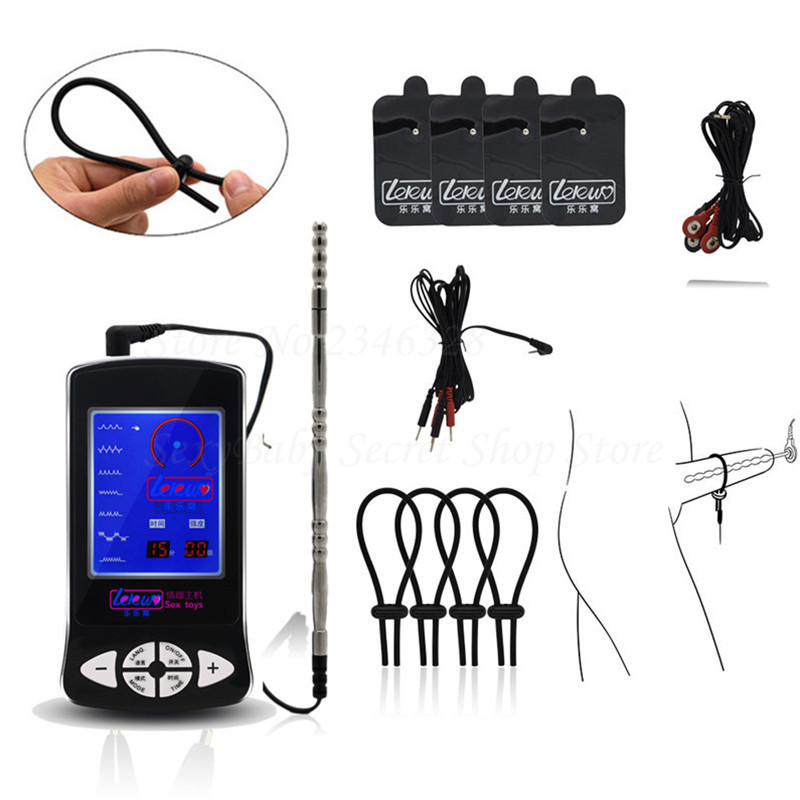 Electric Shock Massage Pad Cock Rings Stimulate Medical Themed Toys Kit,Electro Shock Penis Urethral Sound Plug Sex Toys For Men hot electric shock medical themed toys kit penis rings massage pad anal butt vagina plug electro shock sex toys for men couples
