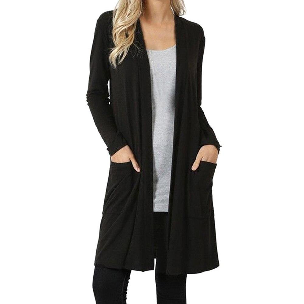 Для женщин Открыть фронта Fly Away кардиган свитер с длинным рукавом плюс Карманы Свободные Пелерина элегантный длинный тонкий зимнее пальто ...