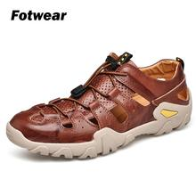 Fotwear Men sandals Exceptional Leather Craft with shoelace hiking leather breathable Lightweight and durable comfort