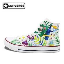 Men Women High Top Converse All Star Nature Forest Selva Birds Original Design Hand Painted Shoes