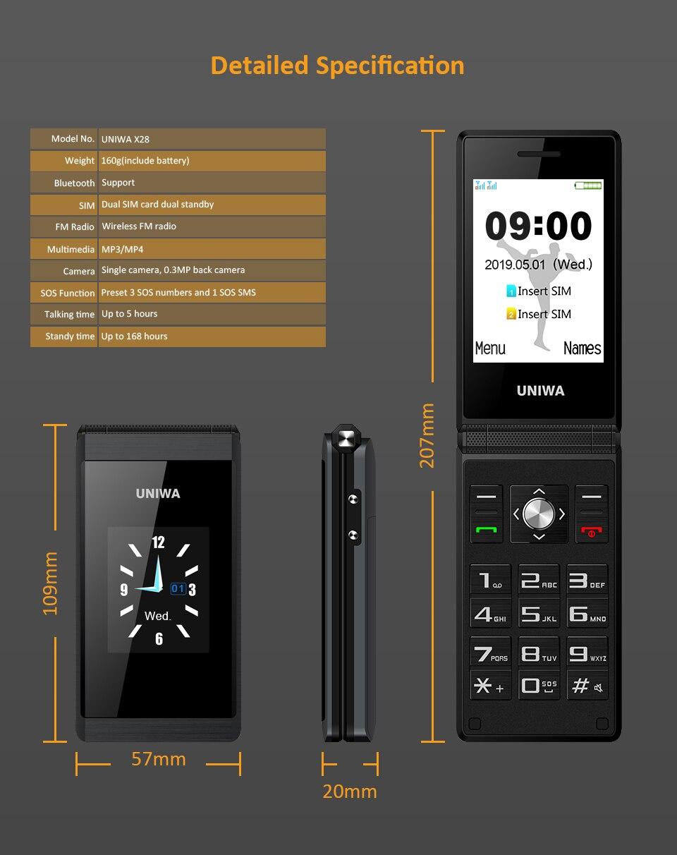 UNIWA X28 старшие флип-телефон GSM Большой кнопочный старый человек многофункциональный мобильный телефон Dual Sim FM русская клавиатура разблокированный мобильный телефон