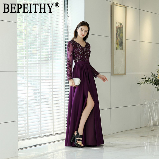 BEPEITHY Vestido De Festa New Arrival Elegant Lace Beads V-Neck Purple Satin Sash Sexy Slit Long Sleeve Evening Dresses 2019