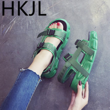 HKJL Fashion 2019 new womens sandals summer Korean shoes Roman retro style muffin bottom thick A508
