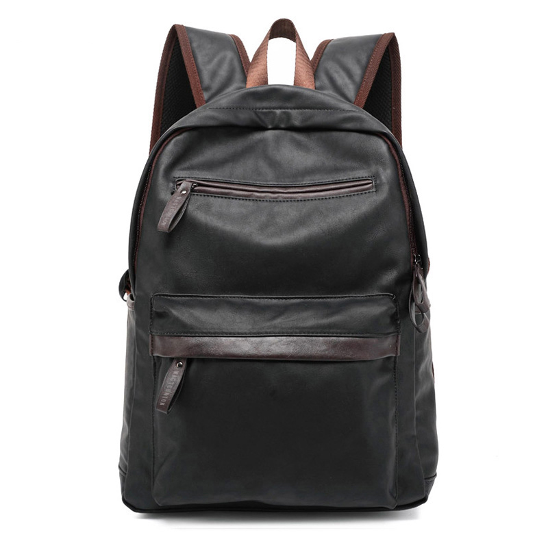 Backpack Casual-Bags College-Style PU Men Oil-Wax Western
