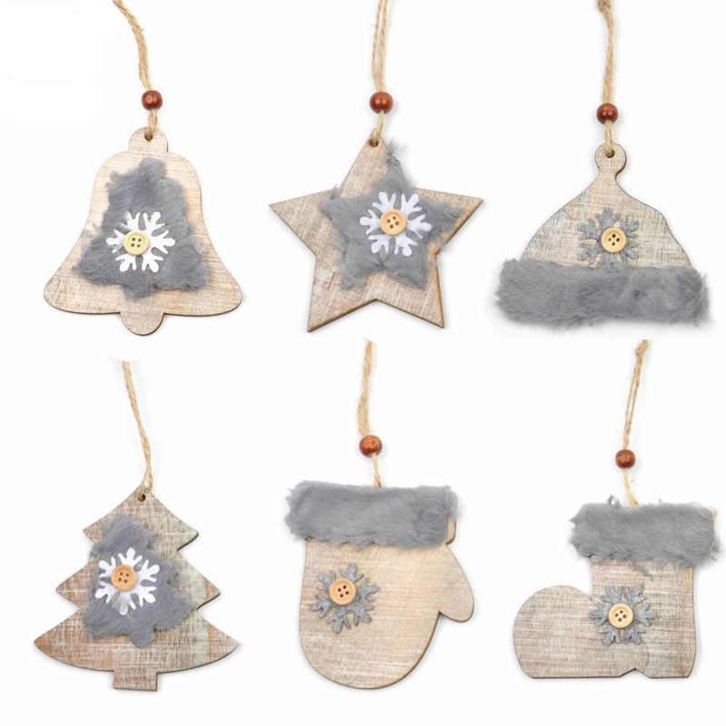 6 Estilo Bonito de Multi-forma DIY Fofo De Madeira Porta Da Sala de Enfeite de Árvore de Natal de Ano Novo Festa de Natal para Decoração de Janelas pingente