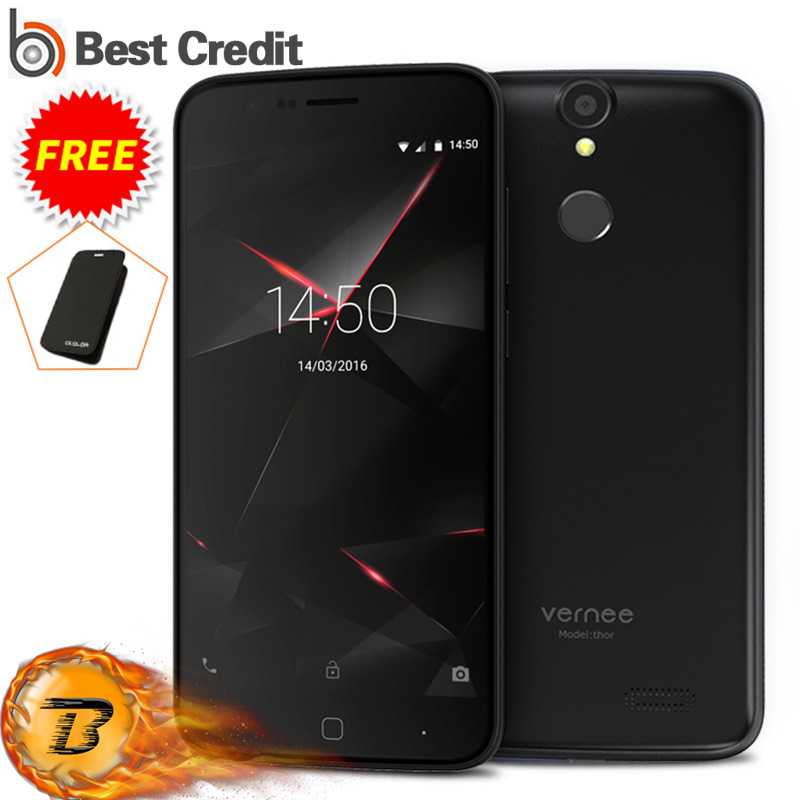 "Цена за Оригинал 5 ""2.5D Vernee Тор Octa Ядро Мобильного Телефона 4 Г Android 6.0 MTK6753 Отпечатков Пальцев ID 3 Г RAM + 16 Г ROM 7.9 мм Толщина 2800 мАч"
