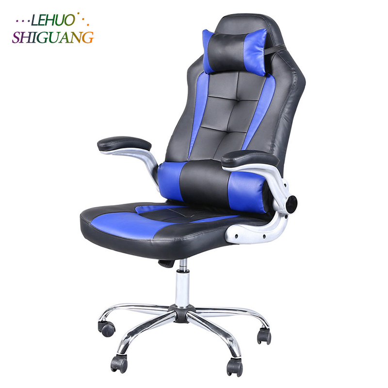 все цены на Blue black PU leather High Back Swivel Chair Gaming Chair With Headrest Rotating lift soft office chair Fashion office furniture