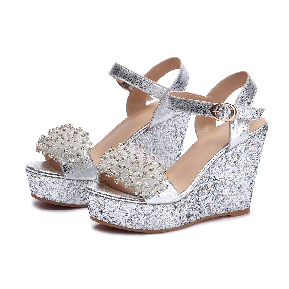 ddfcfac157 Asumer 2018 summer shoes woman buckle elegant prom wedding shoes bling  crystal platform wedges shoes genuine leather sandals
