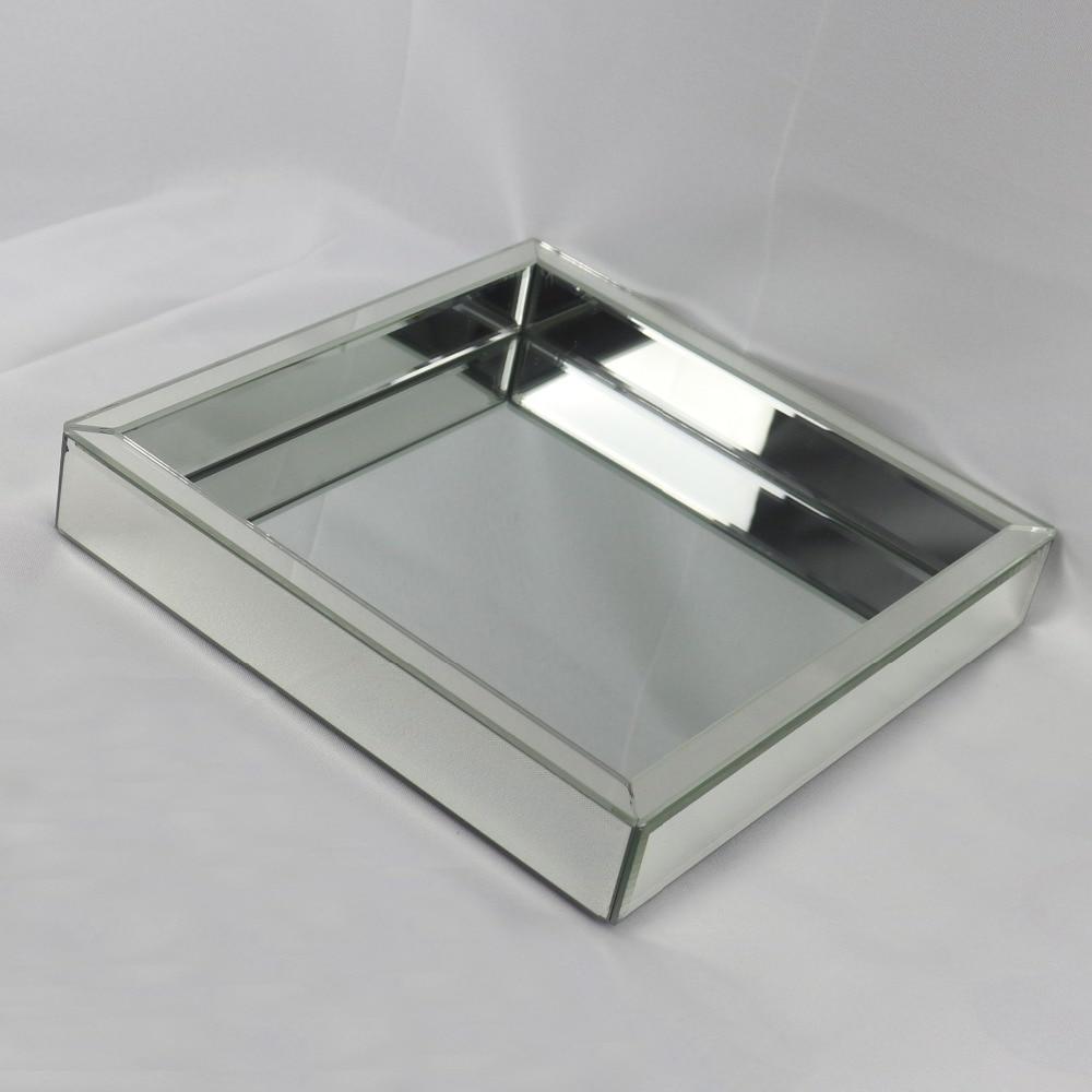 Plateau assiette à fruits en verre carré | Plateau à vin en verre miroir moderne, plateau de rangement pour décoration de mariage, plateau de Collection de maquillage - 3