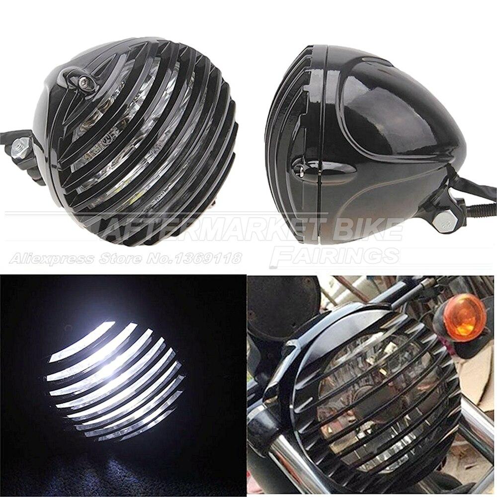 Noir De Vélo De Moto Bullet Halogène Phare Lumière Lampe Grill Couverture Pour Harley Chopper Personnalisé