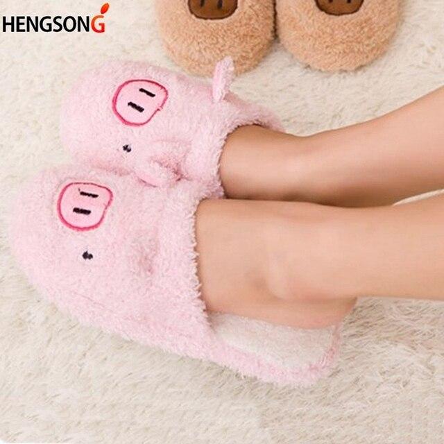 Delle nuove donne di Inverno Slipper Home Scarpe Per Le Donne Chinelos Pantufas Adulto di Modo Orso Bello Pig Casa Coperta Pantofole Con pelliccia