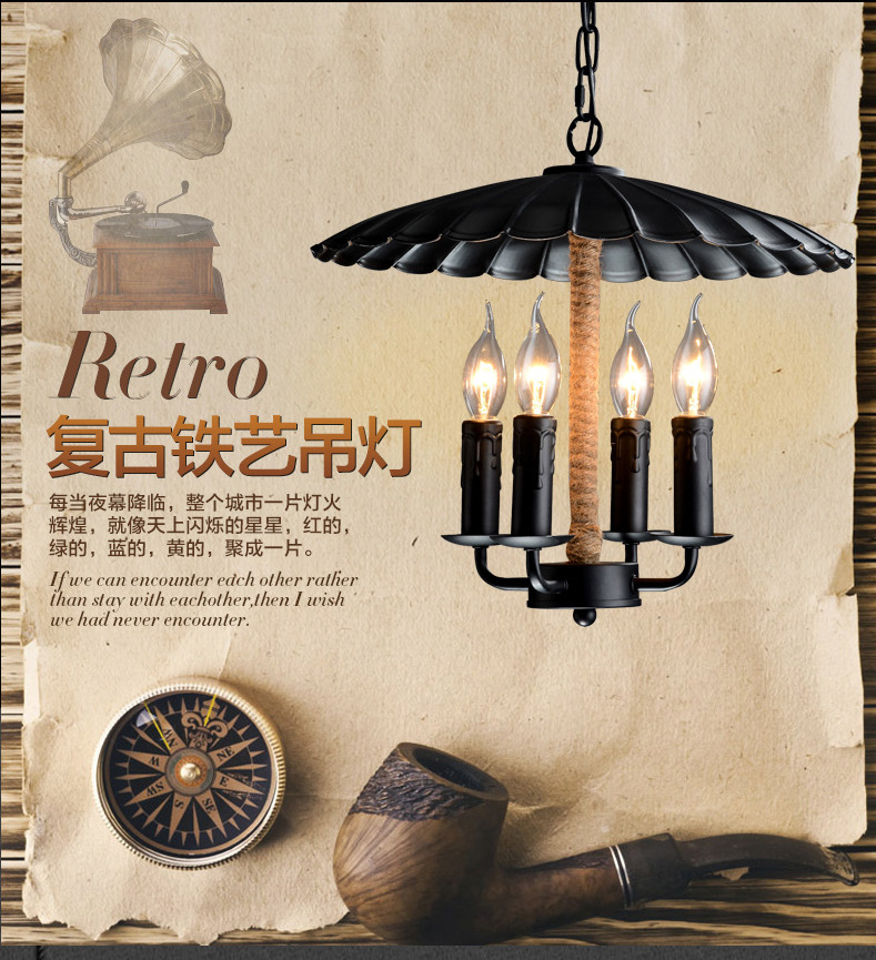 American Vintage Style Pendant Lamp Wrought Iron Hemp Rope Lamp E27 For Living Room Decoration Bars Light Free Shipping