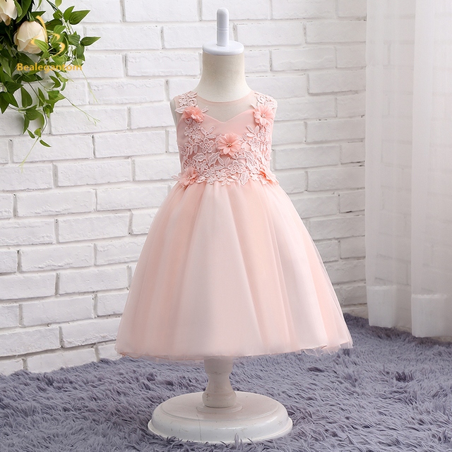 16f772f9497a Bealegantom 2019 New Pink Flower Girl Dresses With Bow Appliques Flowers  Beaded Princess Kids Pageant Comunion Gown QA1221