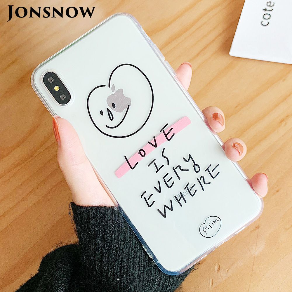 KIPX1103_1_JONSNOW Phone Case For iPhone 6S 7 8 Plus Love Pattern Clear Soft Silicone Cover Cases for iPhone X XR XS Max Capa Fundas