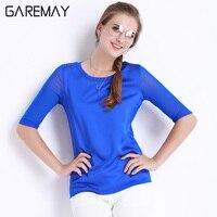 GAREMAY Summer Women Blouses Office Elegant Shirts Mesh Ladies Tops White Imitation Silk Tops For Women