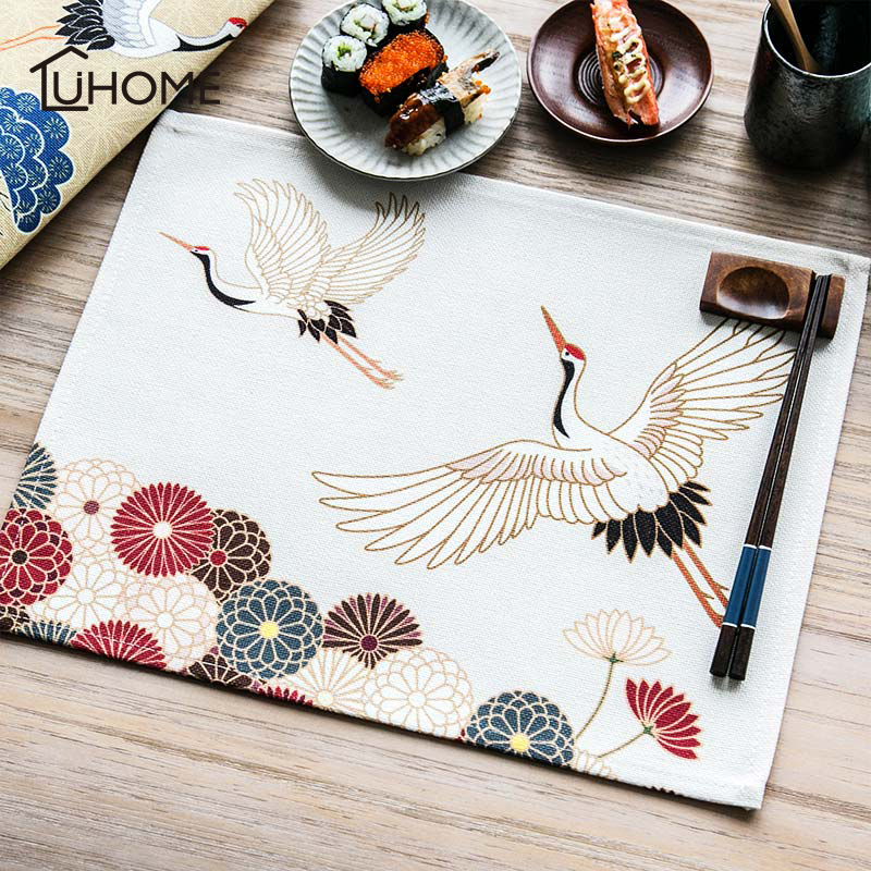 Japanese Style Crane Pattern Table Placemats for Table Set Cotton Linen Home Accessories Kitchen Pad Coffee Tea Place Mats