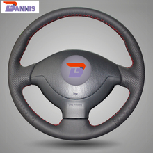 BANNIS Black Artificial Leather DIY Hand stitched Steering Wheel Cover for Suzuki Jimny Car Special
