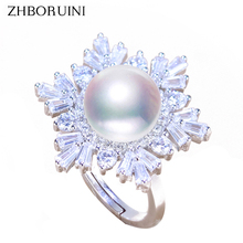 ZHBORUINI 2018 Fashion Pearl Ring Natural Freshwater Pearl Snowflake Big Rings Zircon 925 Sterling Silver Jewelry For Women Gift