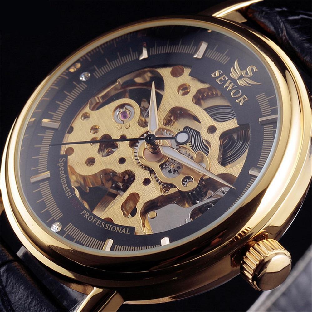 Sewor üzleti márka divat csontváz acél bőr férfi férfi óra - Férfi órák