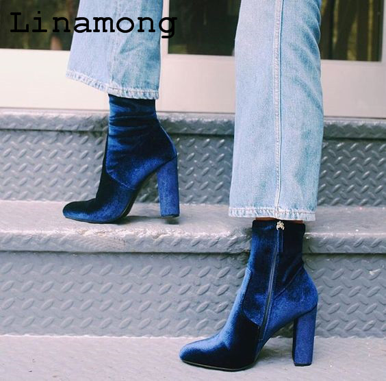 2018 spring and summer ankle flock pointed toe square heel high heels zipped short boots soft and comnfortable  2018 spring and summer ankle flock pointed toe square heel high heels zipped short boots soft and comnfortable