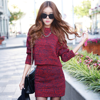 Make Han Edition Sweater Sweater Fashion Two Suit Bag Hip Skirt Qiu Dong Outfit Women Dress
