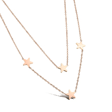 Fashion Womans Double Layer Necklaces Rose Gold Plated Stainless Steel Stars Women Jewelry Trendy Gift