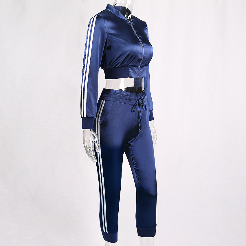 Hot Fashion women 39 s casual Crop Top cropped trousers two piece set Sexy cropped trousers Sporty leisure suit in Women 39 s Sets from Women 39 s Clothing