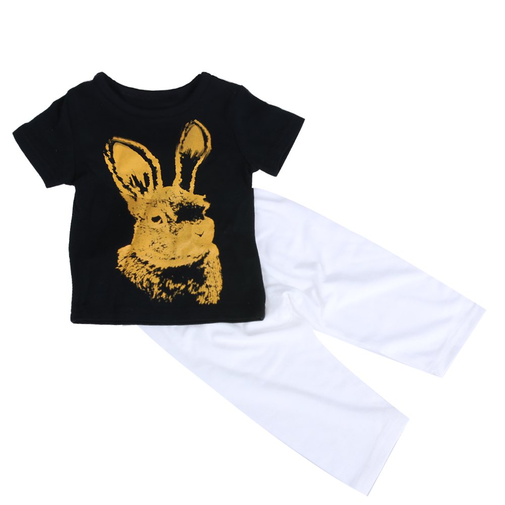 0-24M Infant Baby Clothes Set Summer Cute Rabbit Kids Boys Girls T-shirt Tops +Long Pants Trousers Outfit Clothing