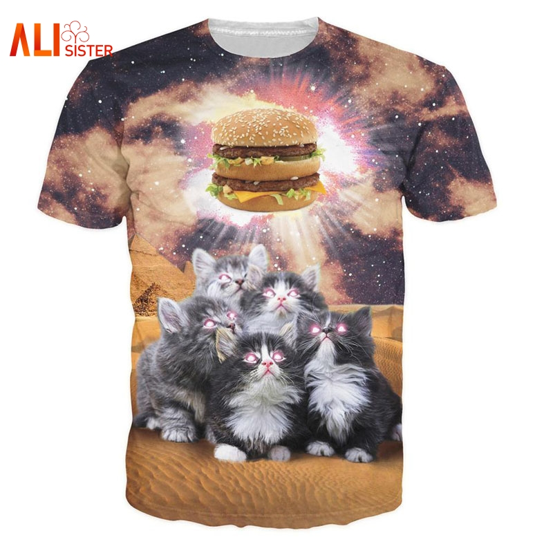 Alisister Worship The Burger T-Shirt Adorable Kittens Cats Vibrant Sick Galaxy T Shirts Men Women Unisex Loose Top Tees