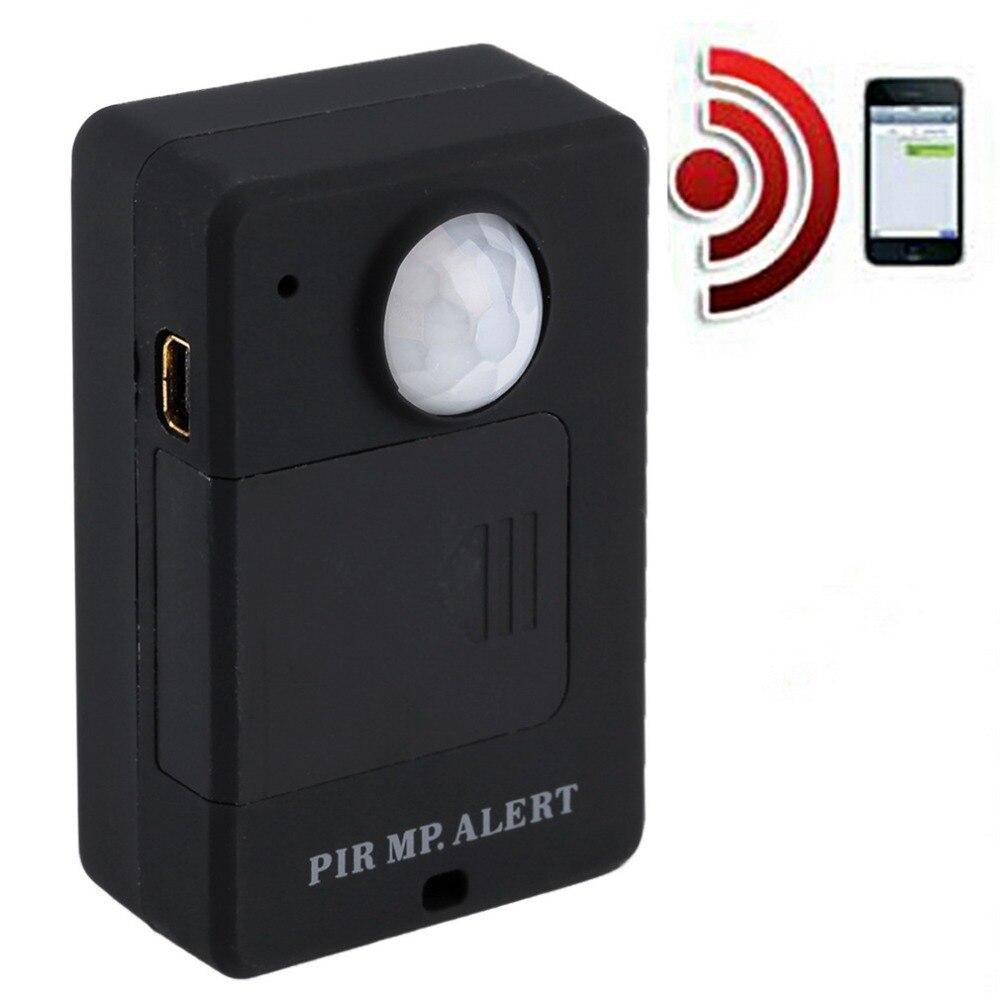 Mini Sensor de alerta PIR inalámbrico infrarrojo GSM Monitor de alarma detección de movimiento sistema antirrobo para el hogar con adaptador de enchufe europeo
