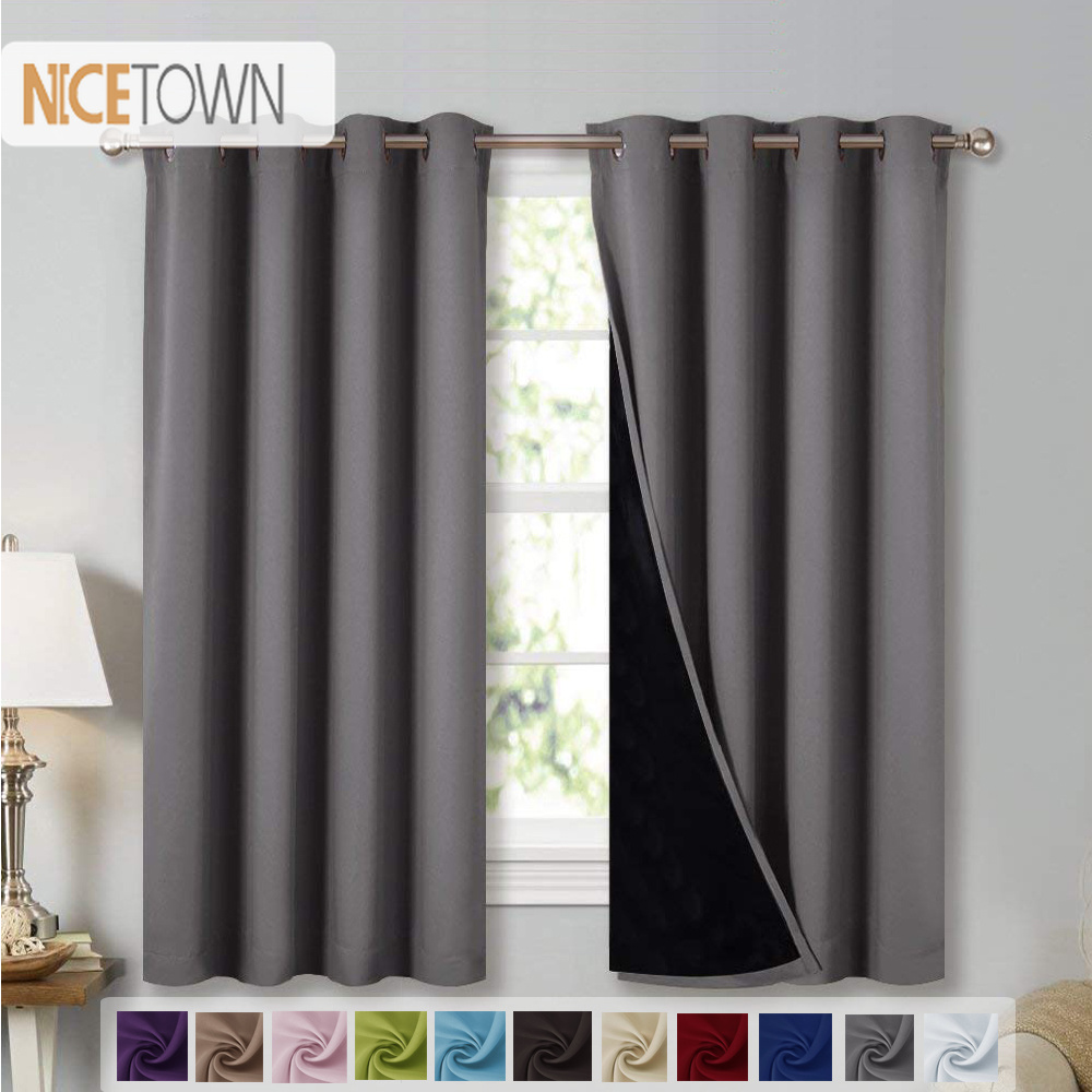 NICETOWN 1PC Double layer Blackout Curtains Fabric Noise Reducing Light Block Thermal Blackout Drapes For Living room Bedroom(China)