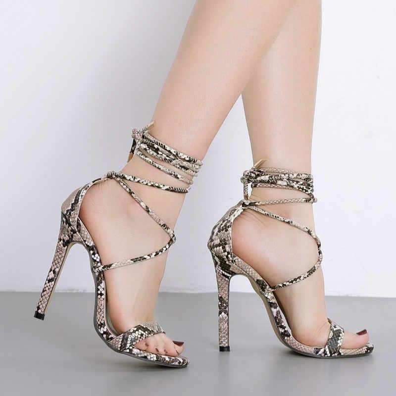 Yeni kadın sandalet ayakkabı moda çapraz bağlı süper yüksek (8cm-up) yılan ince yüksek topuklu seksi kulübü Lady parti kadın ayakkabı pompaları