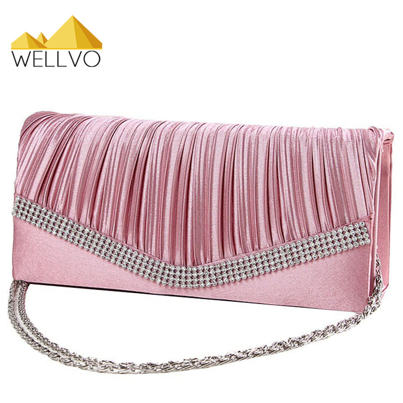 Women Satin Clutch Bag Rhinestone Evening Purse Ladies Day Clutch Chain Handbag Bridal Wedding Party Bag Bolsa Mujer 2017 XA1080 hot ladies crystal rhinestone clutch women pearl evening bag bridal purse dinner party chain handbag bag bolsas mujer xa1085b