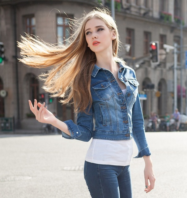 35e5c96f96c 2015 new spring and summer fashion explosion models ladies stretch denim  jacket sleeve short jacket to Europe Code denim jacket