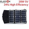 ELEGEEK 20 W 5 V Plegable Panel Solar Cargador Portátil de Doble Salida USB de Alta Eficiencia de Sunpower Panel Solar para el Teléfono Móvil 5 V Dispositivo