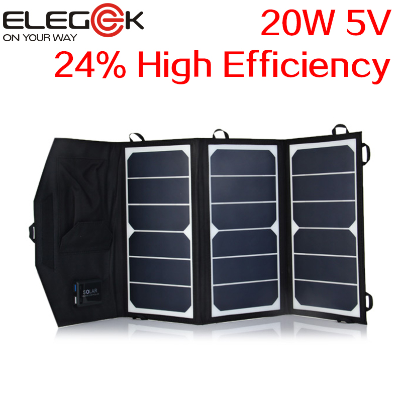 ELEGEEK 20W 5V Folding Solar Panel Charger Portable Dual USB Output High Efficiency Sunpower Solar Panel for Cellphone 5V Device soa 011 portable 5v dual usb folding 10w solar powered panel camouflage