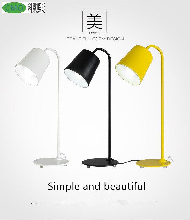 Lampe de bureau Simple nordique moderne étude des yeux de fer travail de lecture lampe de Table Led avec prise E27 personnalité créative lampe de bureau de bureau