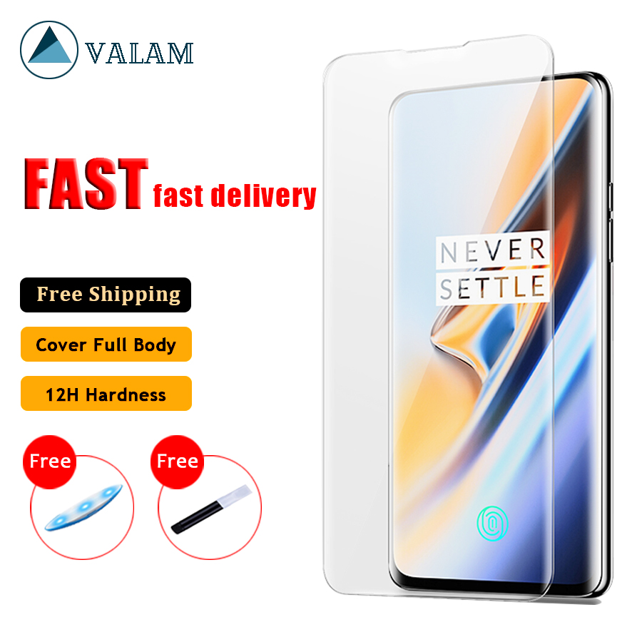 UV Liquid Full Glue Tempered Glass For Oneplus 7 Pro Case Screen Protector Full Cover Protector Glass For One Plus 7 Pro Glass