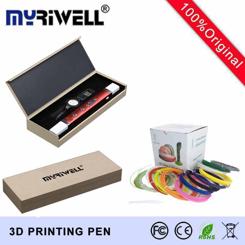 Free shipping myriwell generation third 3D PEN with usb cable temperature display screen 20 pcs ABS