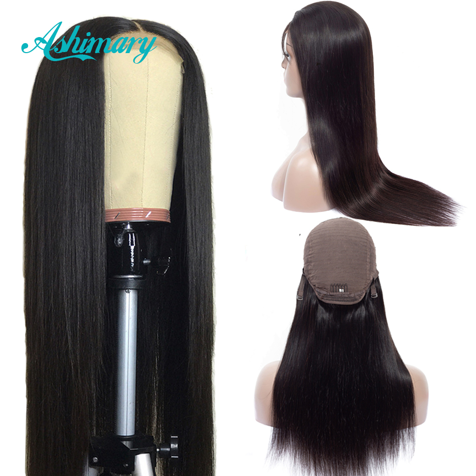 Ashimary Lace Front Human Hair Wigs 4x4 Closure Lace Wigs Remy Brazilian Hair Wigs Straight Lace Front Wig with Baby...